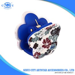 Wholesale Wholesale New Hair Claw - New design flower shape PC material blue printed flower claw clips for thin hair 12 PCS  1 bag