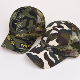 Wholesale Kids Summer Hats Sale - Kids Mesh Camouflage Trucker Caps Snapbacks Military Hats For Children Summer Spring Autumn Sports Caps Army Camo Curved Baseball Caps Sale