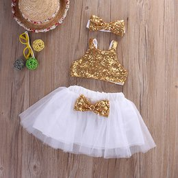 Wholesale Toddler Girls Winter Tops - Wholesale- Infant Baby Girl Sequins Tank Tops+Tutu Skirts Headband Party Outfits Clothes Toddler Girl Clothing Set