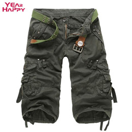 Wholesale Option Pockets - Wholesale- Men Cargo Shorts Solid Cotton Calf-Length Summer Male Fashion Multi-Pocket Multiple Color Options Men's Cargo Shorts Plus Size