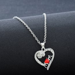 Wholesale Day Heating - New Arrived Silver Color Pretty Rose Flower Crystal Heat Pendant Necklace Jewelry Mother Day Necklace Good Gift