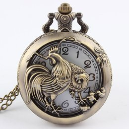 Wholesale Chinese Zodiac Pocket Watches - Wholesale-Hot Chinese Zodiac 12 Bronze Rooster Hen Hollow Quartz Zodiac of Chicken Pocket Watch Necklace Pendant Carving Brown GIfts P246