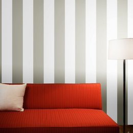 Wholesale Vertical Stripes Wall Paper - Wholesale- Modern Simple wide vertical stripe wallpaper silver white classic wall covering bedroom living room horizontal stripe wallpaper