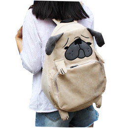 Wholesale Squirrel Backpack - Japanese Animal Design Corduroy Backpacks for Teenage Girls Cute Pug Dog Preppy Style Book Bag Pug Laptop Squirrel Backpack