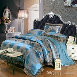 Wholesale Silk Cotton Duvet Cover - BZ609 Jacquard Bedlinen Queen King Size Lace Duvet cover Set Silk and Cotton Bedding Sets