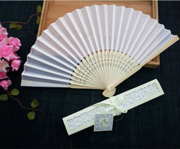 Wholesale gift blanks - Cheap Chinese Imitating Silk Hand Fans Blank Wedding Fan For Bride Weddings Guest Gifts 50 PCS Per Package