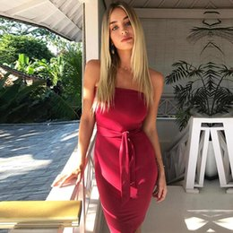 Wholesale Sexy Skinny Dress - 2017 Fashion Sheath Bodycon Mini Short Party Club Dresses Skinny Hot Summer Women Party Wears with Sash Cocktail Casual Dress FS1972