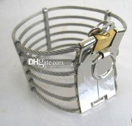 Wholesale Cleopatra Wire Slave Collar - Steel Wire Slave Collar Cleopatra Collar Ann Posture Collar with LOCKS Neck Bondage BDSM Collars Sex Toys JGZY-H184