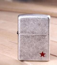 Wholesale Red Cigarette Lighter - Free shipping, men's cigarettes, lighters, windproof kerosene, metal silver, red five pointed stars