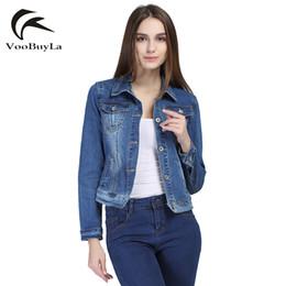 Wholesale Woman Coat Short Hands - Wholesale- VooBuyLa Brand Fashion Jeans Jacket Women 2017 Plus Size 5XL 6XL Autumn Hand Brush Long Sleeve Stretch Short Denim Jacket Coat