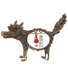 Wholesale Red Riding Hood - ashion 1pcs Vintage Wolf Brooch jewelry Little Red Riding Hood Unique Epaulette Brooches drop shipping Free Shipping