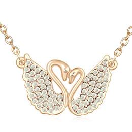 Swan ama colar on-line-Meninas das mulheres dois cisne colar de coração de cristal pingente de moda amor presentes de aniversário charme de aço inoxidável cadeia de jóias