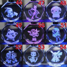 Wholesale Korean Crystal Keychain - 2017 New Korean 171 Style Poke go LED crystal Keychain toys NEW Children Poke Ball Pikachu Charmander led Luminescence keyring