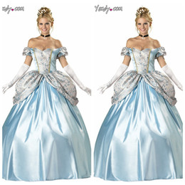 Wholesale Princess Presents - Wholesale-JALON European American Cinderella cosplay costumes Dress Halloween Blue Princess birthday present Gift Summer Adult Gown