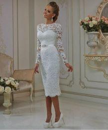 Новый с длинным рукавом старинные чай длина кружева свадебные платья горячие продажи бисером створки оболочки короткие свадебные платья vestido де noiva на заказ W630 от Поставщики горячий чай