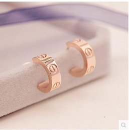 Wholesale Earrings Rose Plated - Top Quality 316L Titanium steel Brand Stud Earring Non-fading and no Allergy Rose Gold Plated Love Earring for Women PS4126
