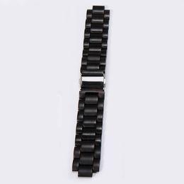 Wholesale Adjustable Wrist Bands - Watch Band Wooden Hardwood Watch Strap Wood Wrist Bracelet with Adjustable Links for watch ( Light Black Sandalwood 45mm