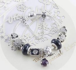 Wholesale Black Crystal Beads Fit Bracelet - Top 925 Sterling Silver Black Murano Glass & Crystal European Charm Beads Pendant Fits Snake ChainCharm bracelets Style Bracelet Jewelry DIY