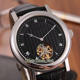 Wholesale Classic Tourbillon - 5 Style Luxury Brand Classic Classique 847 Automatic Black Dial Tourbillon Mens Watch Brown Leather Strap High Quality Cheap New Watches