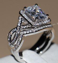 Wholesale Princess Diamond Engagement Ring Set - Fine New Popular Jewelry 10KT White gold filled Topaz Simulated Diamond Princess Women Wedding Engagement Rings set for Women