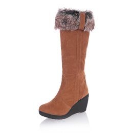 Wholesale Thick Warm Half Slips - Wholesale-New Fashion Women Snow Boots Thick Keep Warm Fur Shoes Sexy high Heel Wedge Shoes Round Toe Platform Knee High Long Winter Boots
