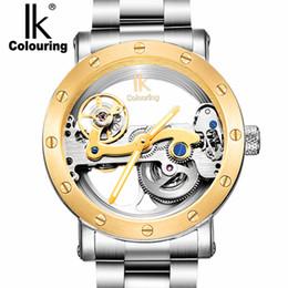 2019 ik relojes para colorear Marca de moda IK para colorear Tourbillon reloj hueco, multifuncional 50M Impermeable de lujo casual correa de acero Reloj mecánico ik relojes para colorear baratos