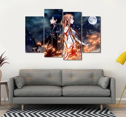 Wholesale 4pcs set Unframed Sword Art Online Anime Poster Print On Canvas Wall Art Picture For Home and Living Room Decor