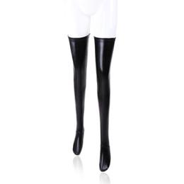 Canada CHAUD Sexy Femmes Wet Look Élastique Haut Bas Erotique Retour Zipper Bas Femmes Noir En Cuir Verni Bas Bande Antidérapante supplier erotic black stockings Offre