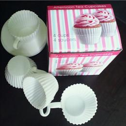 Wholesale Silicone Tea Cake Moulds - 4 sets =1 box Tea Cup Silicone Cupcake Moulds Baking Fun Party Cakes Muffin Mould 4 Cup 4 Saucers Boxed Free Shipping