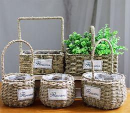 Wholesale Desktop Shapes - 6PCS-PACK Multi Shape Willow Handwoven Easter Basket Straw handmade floral pots, Succulent Plants Decorative Flower Pot Crafts Pots