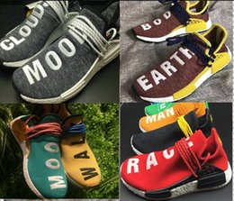 Wholesale DHL Free Nmd Hu Human Race Sun Glow Pale Nude Core Black Noble Ink Real Boost Pharrell Williams Running Shoes