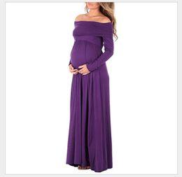 Wholesale Casual Pregnancy Dresses - Autumn Long maternity dresses Cowl Neck Pregnants Photography Props Off Shoulders Nursing Dress maternity clothes pregnancy Free Shipping