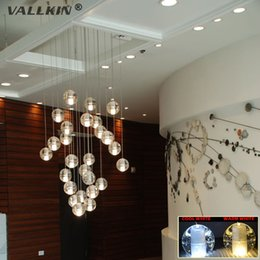 Wholesale Kitchen Led Ceiling Lights - VALLKIN® Modern LED Crystal Glass Chandeliers Pendant Lights for Stairs Duplex Hotel Hall Mall with LED G4 Bulbs DIY Ceiling Lighting
