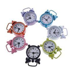 Wholesale Twin Bell Alarm Clocks - Cheap Kid Portable Teen Mini Cute Quartz Analog Twin Bell Alarm Clock Mini Non-ticking Vintage Table Alarm Clock 2.5inch Random Colour