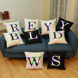 Wholesale Letter Cushion Covers - Letter Alphabet Pillow Case 45*45cm LED Light Pillows Cushion Cover Light Up Pillowcase Car Home Sofa Decoration OOA2111