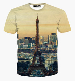 Wholesale Eiffel Tower T Shirt Men - New harajuku 3D t shirt Eiffel Tower city view print casual summer tops unisex 3d tees tshirt for men women plus size XXL