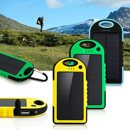 Wholesale Wholesale Solar Phone Charger Universal - Universal 5000mAh Solar Charger Waterproof Solar Panel Battery Chargers for Smart Phone iphone7 Tablets Camera Mobile Power Bank Dual USB