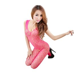 Wholesale Hot Women Jumpsuits - Hot Sexy Mesh Jumpsuit Women open crotch Transparent Erotic Bodysuit Fishnet Hollowed Crotchless Babydoll Nightdress