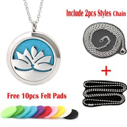 Wholesale Magnet Lockets - 30mm magnet lotus flower Aromatherapy Essential Oil surgical Stainless Steel Perfume Diffuser Lockets Necklace with chain and felt pads