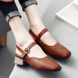 Wholesale Ladies Dress Low Heel Sandals - Plus Size Ankle Strap Women Sandals Low Medium Chunky Heels Square Toe PU Leather Sexy Casual Party Summer Ladies Shoes