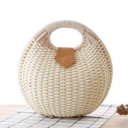 Wholesale Covered Magnetic Closure - Wholesale- Women Shell Knitting Handbag Rattan Weaved Round Shape Wristlets Magnetic Hasp Closure Type Retro Simple Elegant Bolsa Feminina