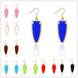 Wholesale Wholesale Arrowhead Charms - Fashion Gold Arrowhead Geometric Acrylic druzy Stone Earrings Chandelier Earring Various Colors Tonal Popular for Lady