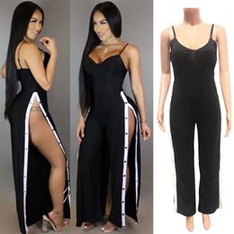 Wholesale Womens Vest Jumpsuit - Ladies Black High Split Spaghetti Strap Casual Summer Sleeveless V Neck Evening Jumpsuit Playsuit Womens Vest Romper Bodysuit