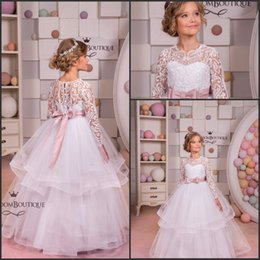 Wholesale Green Skirts For Toddler - Lace White Flower Girl Dresses for Wedding 2017 Vintage Lace Ruffles Organza Skirt Girls Communion Gowns Birthday Party Wear with Bow Belt
