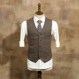 Boda de la granja Brown Herringbone lana Tweed Chalecos Groom Traje Chaleco Slim Fit Sastre hecho guapo chaleco de la boda Hombres de mayor tamaño desde fabricantes