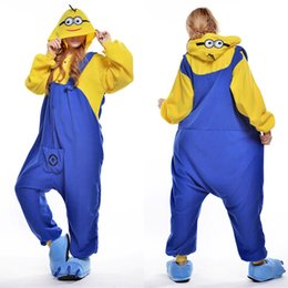Wholesale Adult Costume Pajamas - Smile Minions Animal Costume Kigurumi Pajamas Cosplay Halloween Suits Adult Romper Cartoon Jumpsuits Unisex Animal Sleepwear