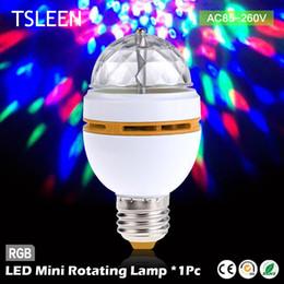 Wholesale Cheap Auto Light Bulbs - Wholesale- 11.11 Big Sale +Cheap+ led mini crystal auto rotating colors changing light bulb party dj e27 3w rgb + Bulb Socket Edison Screw
