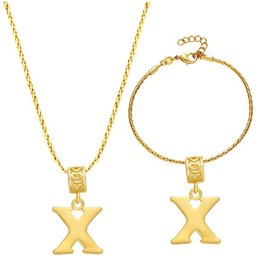 Wholesale Sterling Silver X Necklace - Thick silver plated NEW jewelry set letter -X Set Necklace Bracelet beautiful American foreign trade jewelry wholesale