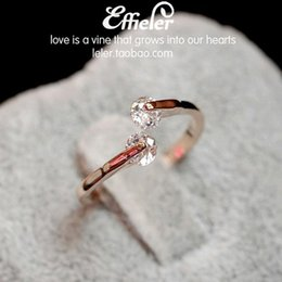 Wholesale Vintage Silver Rose Ring - Fashion Rose Gold Silver Golden Vintage Never Let Go Twin Crystal Wedding Ring Valentine's Gift For Women Lovely Girls' Ring Open Rings