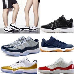 Wholesale Hot Pink Womens Shoes - Womens Varsity Red Retro X1 11 low QS Bred georgetown basketball shoes Citrus mens athletic trainer sports Hot sell 11s Gold Medal sneaker